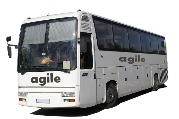 A coach with agile written on it