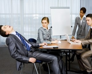 Asleep in a meeting